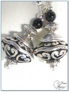 Boucle Oreille fantaisie argent perle filigrane ovale 16mm et onyx