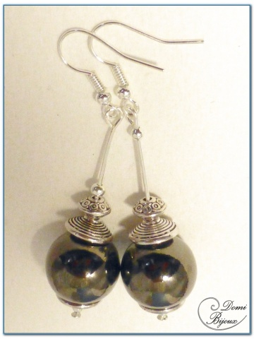 fashion earrings silver finish metal pearl 15mm anthracite colour