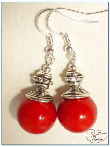 fashion earrings silver finish red jade pearls 14 mm