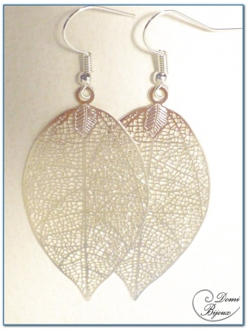 fashion earrings silver finish filigree leaves 50 mm