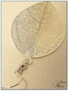 Boucle Oreille fantaisie argent feuille filigrane 50 mm
