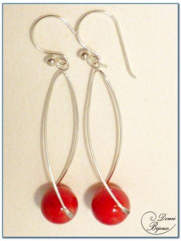 boucle d'oreille argent perle jade rouge 12 mm monture hélice