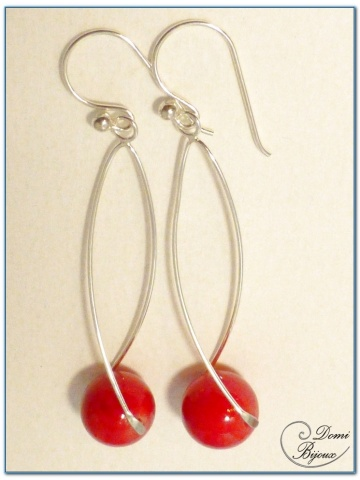 silver earrings 12 mm red jade pearls and helical frame