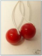 boucle d'oreille argent prele jade rouge 12 mm monture hélice