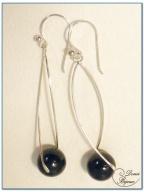 Boucle Oreille argent perle onyx 12 m monture hélice