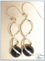 Boucle Oreille argent perle onyx 12mm monture spirale