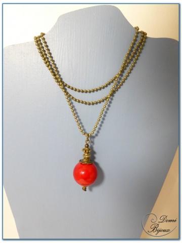Collier fantaisie finition bronze perle jade rouge 18