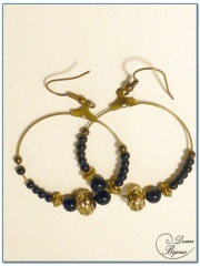 boucle d'oreille fantaisie finition bronze créole 40 onyx