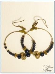 fashion earrings creoles bronze finish 40 onyx pearls
