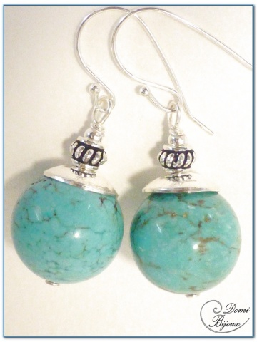 silver earrings turquoise howlite 14 mm pearls