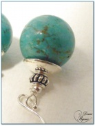 boucle d'oreille argent perle howlite turquoise 14mm