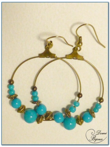 fashion creole earrings 40 mm turquoise glass beads