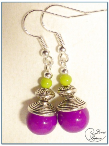 fashion earrings silver finish glass beads fushia and anise colour