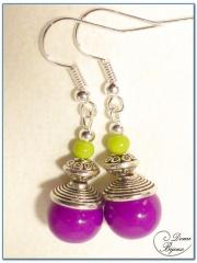 fashion earrings silver finish glass beads fushia and anise colour