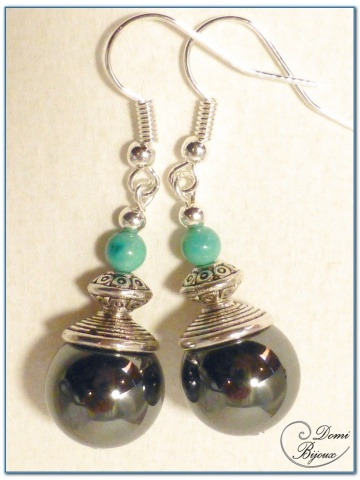 fashion earrings silver finish hematite pearls and turquoise pearls