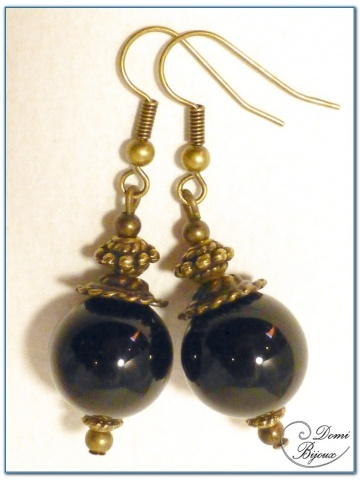 fashion earrings bronze finish 14mm onyx pearls