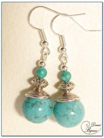 fashion earrings silver finish howlite turquoise pearls 12mm