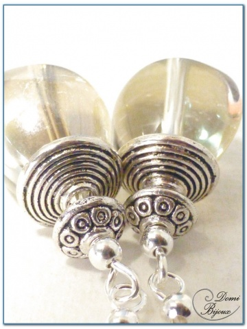 boucle d'oreille fantaisie argenté perles de verre ambrées