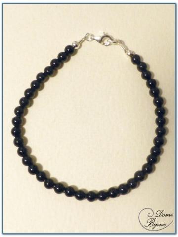 silver bracelet 4 mm onyx pearls
