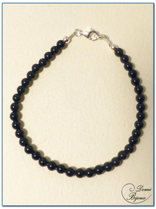 bracelet argent perles d'onyx 4 mm