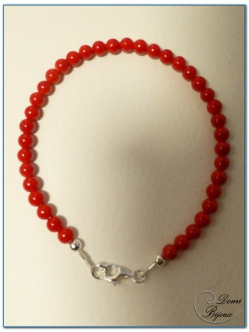 silver bracelet 4mm red jade pearls