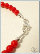 bracelet argent perles jade rouge 4 mm