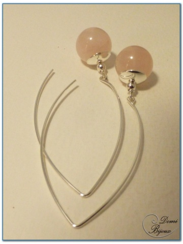 boucle d'oreille argent perles quartz rose 15mm fermoits longs