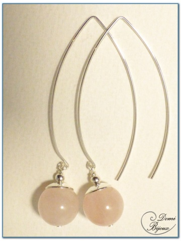 silver earrings pink quartz pearls 15mm long clasps