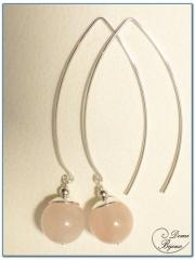 silver earrings pink quartz pearls 15mm long clasps