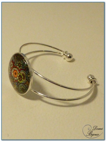 fashion cabochon bracelet silver finish rigid mount-1