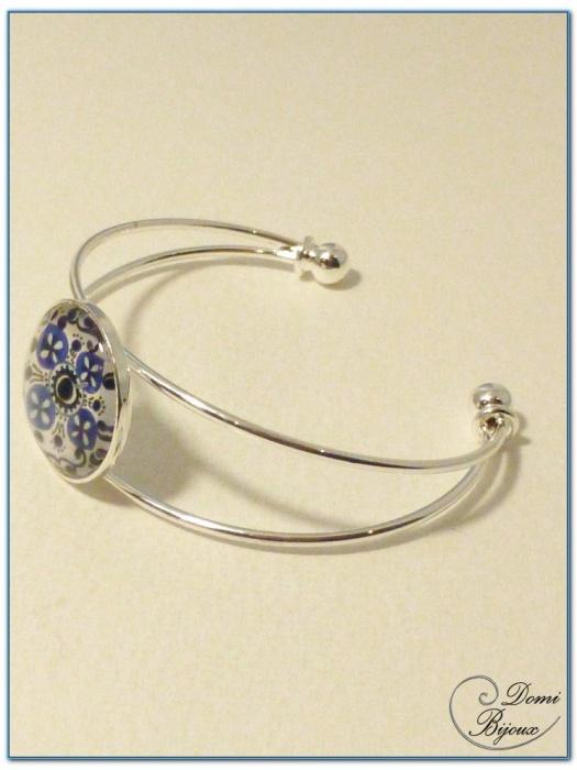 bracelet fantaisie cabochon monture rigide argentéé-2