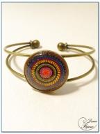 bracelet fantaisie cabochon monture rigide finition bronze -1