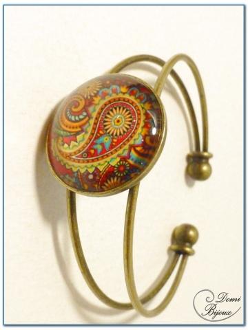 fashion cabochon bracelet rigid mount bronze finish-2