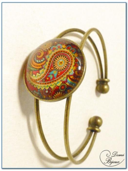 bracelet fantaisie cabochon monture rigide finition bronze-2