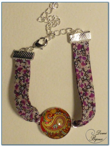 fashion cabochon bracelet silver finish liberty cloth-3