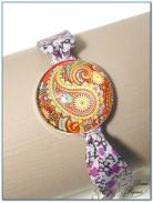 bracelet fantaisie cabochon finition argenté et tissu liberty-3