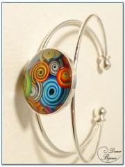 fashion cabochon bracelet silver finish rigid mount-3