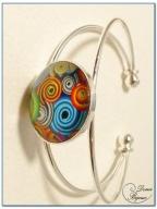 bracelet fantaisie cabochon finition argenté monture rigide-3