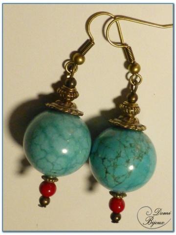 boucle d'oreille fantaisie finition bronze perles howlite turquoise 18 mm