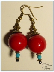 fashion earrings bronze finish red jade pearls 18 mm