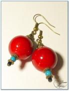 boucle d'oreille fantaisie finition bronze perles jade rouge 18 mm