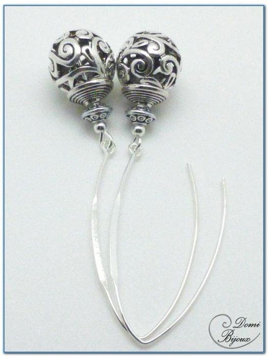 Boucle Oreille fantaisie argentée  perle filigrane 14mm fermoirs longs