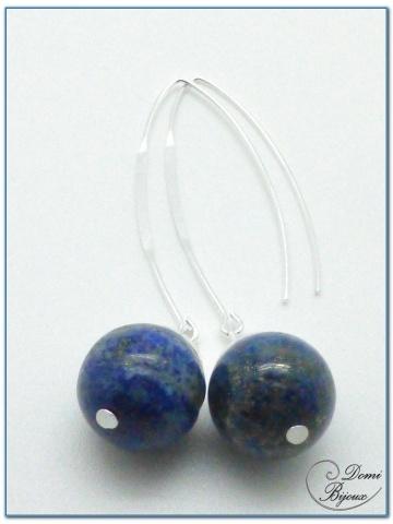 boucles d'oreilles fantaisie argenté perles lapis 14mm fermoirs longs