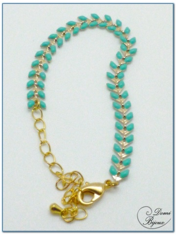 bracelet fantaisie finition doré motif épis émaillé turquoise