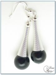 Boucle Oreille fantaisie argenté cône spirale perles onyx 14mm