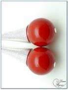 boucle d'oreille fantaisie finition argenté cône spirale perles jade rouge 14mm