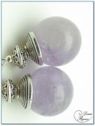 Boucle Oreille fantaisie finition argenté perles améthyste clair 12mm