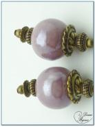 boucle d'oreille fantaisie finition bronze perles céramique parme 14mm