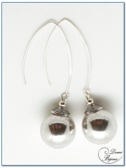 Boucle Oreille fantaisie argentée perles métal 18mm fermoirs longs