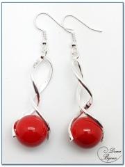 boucle d'oreille fantaisie argenté spirale et perle jade rouge 14mm